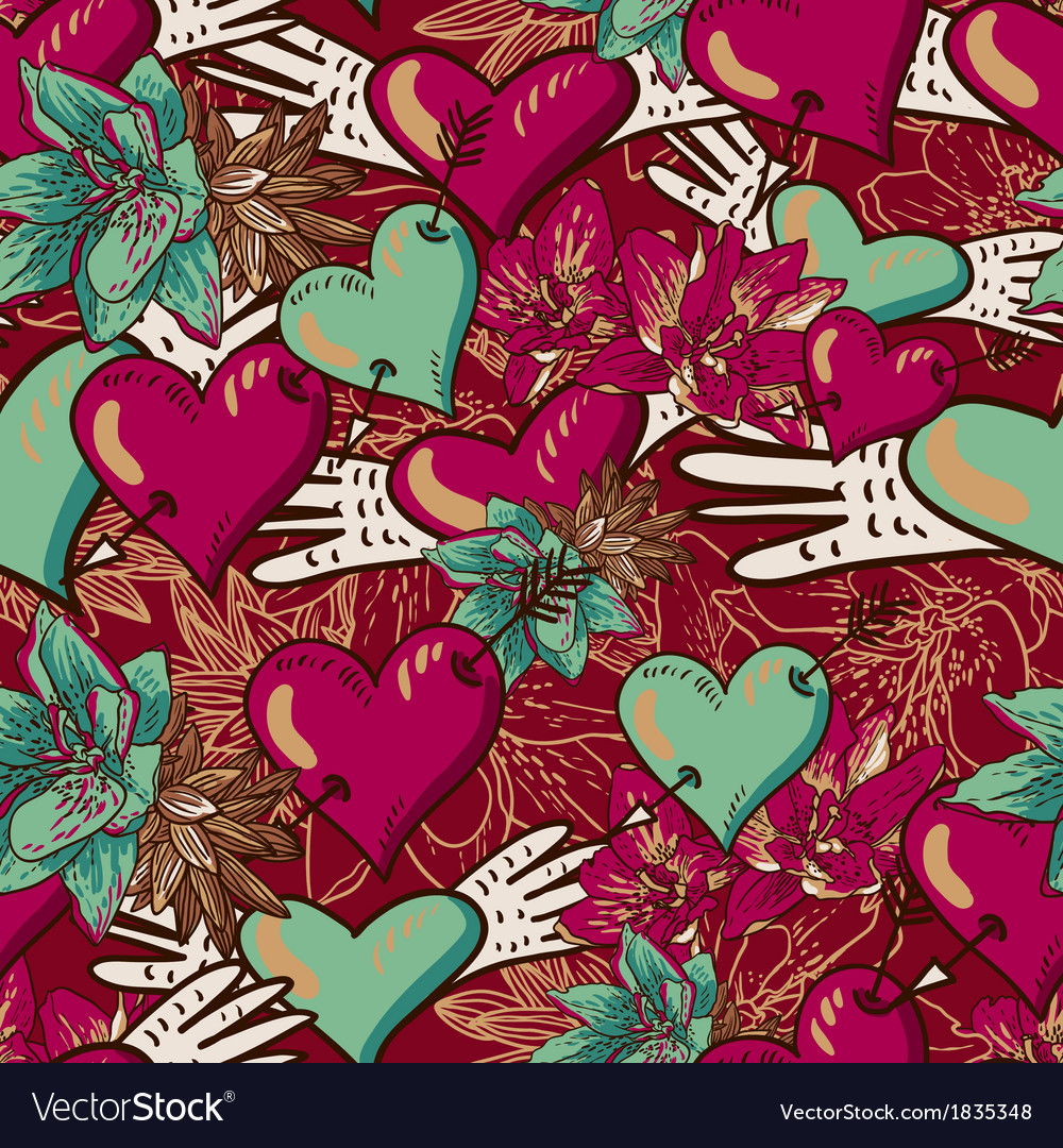 Hearts and flowers seamless background vector | Price: 1 Credit (USD $1)