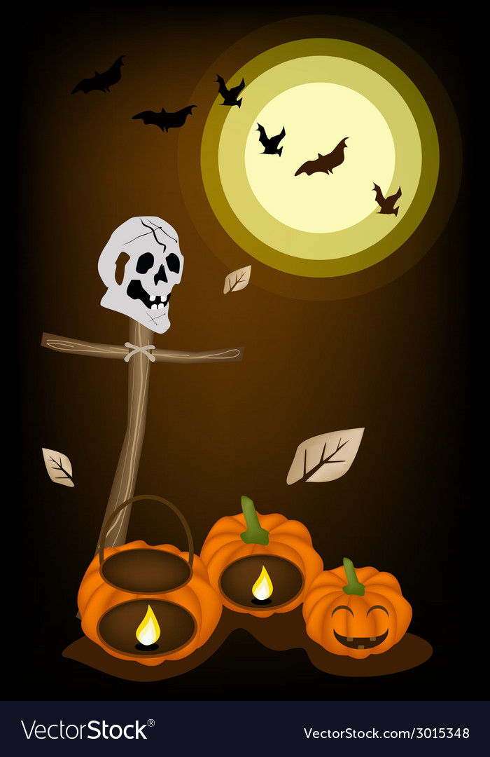 Jack-o-lantern pumpkins with wooden cross on night vector | Price: 1 Credit (USD $1)