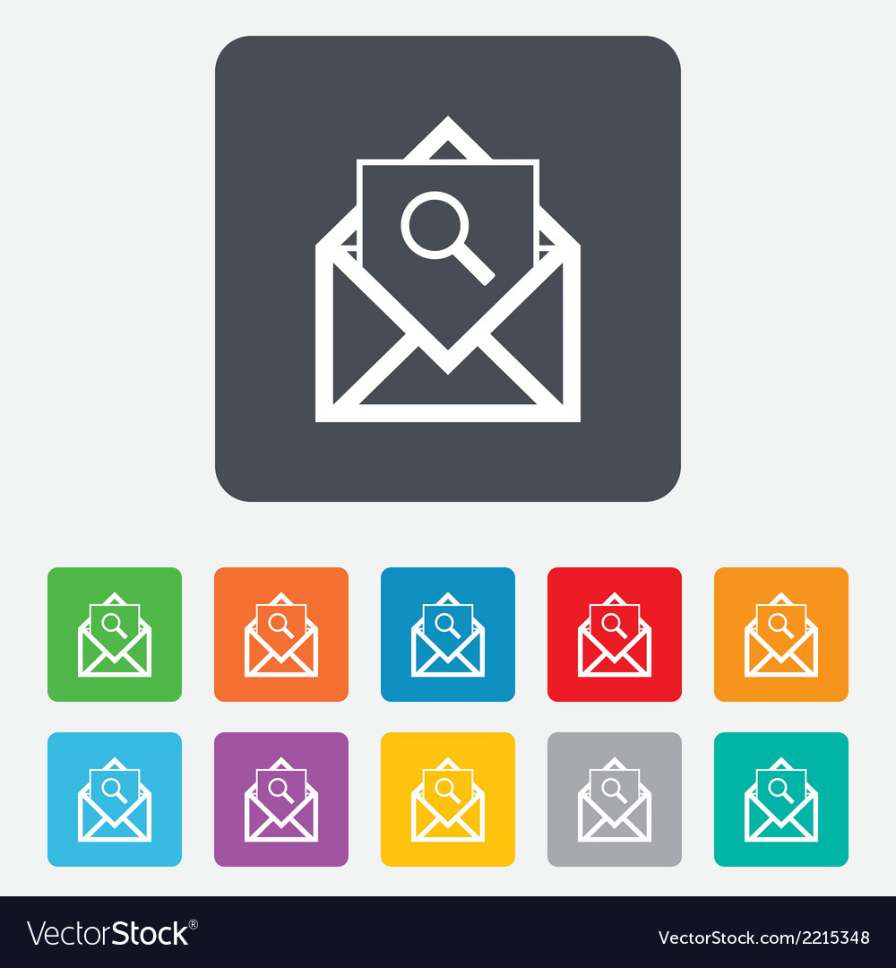 Mail search icon envelope symbol message sign vector | Price: 1 Credit (USD $1)