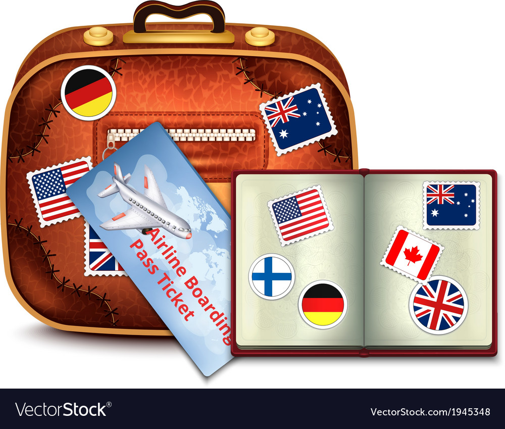 Passport and airline ticket and luggage vector | Price: 1 Credit (USD $1)
