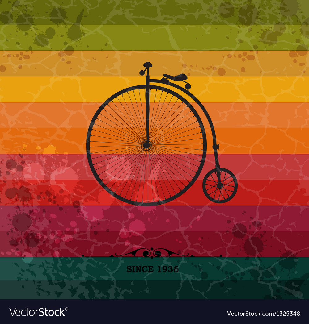 Retro bicycle on colorful geometric background vector | Price: 1 Credit (USD $1)