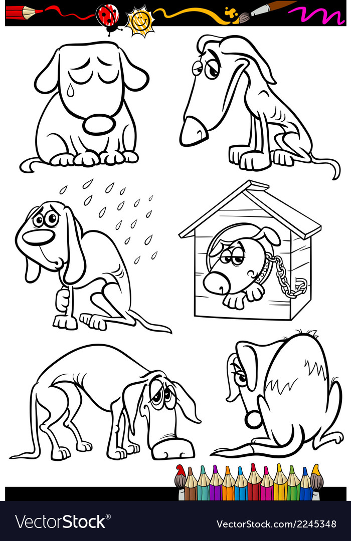 Sad dogs group cartoon coloring book vector | Price: 1 Credit (USD $1)