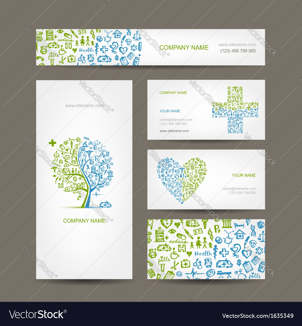 Business cards with medical objects for your vector | Price: 1 Credit (USD $1)
