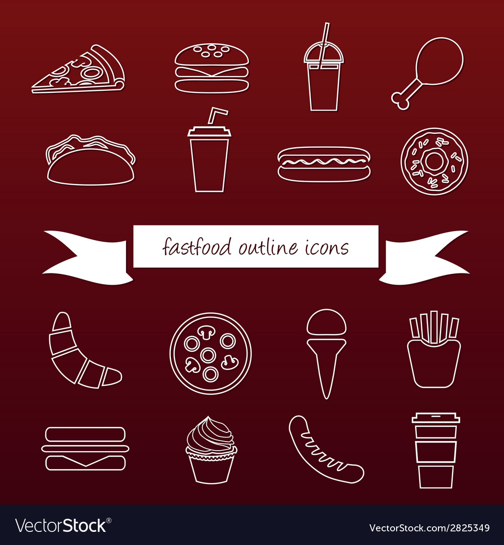 Fast food outline icons vector