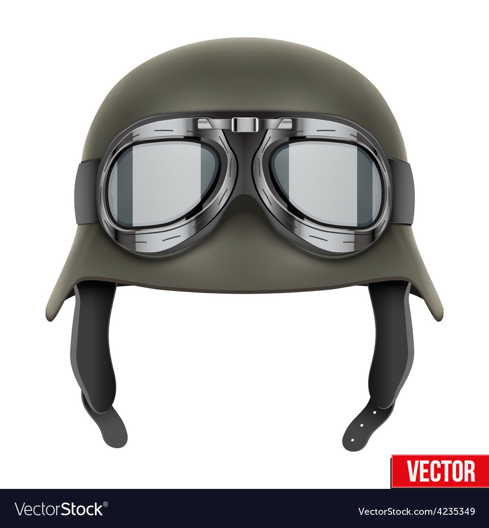 German army helmet with protective goggles vector | Price: 1 Credit (USD $1)