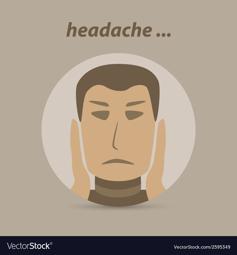 Man with a headache or migraine pain vector | Price: 1 Credit (USD $1)