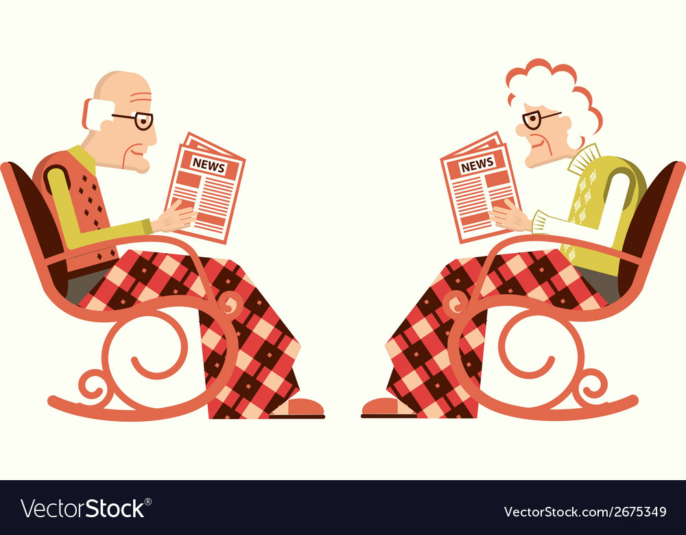 Pensioner in chair sitting and reading newspaper vector | Price: 1 Credit (USD $1)