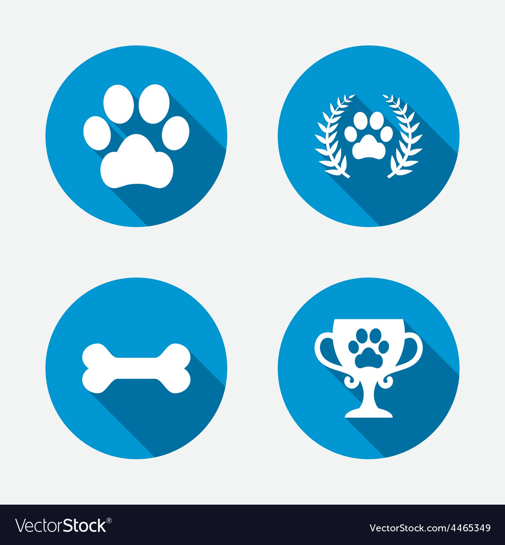 Pets icons dog paw sign winner laurel wreath vector | Price: 1 Credit (USD $1)