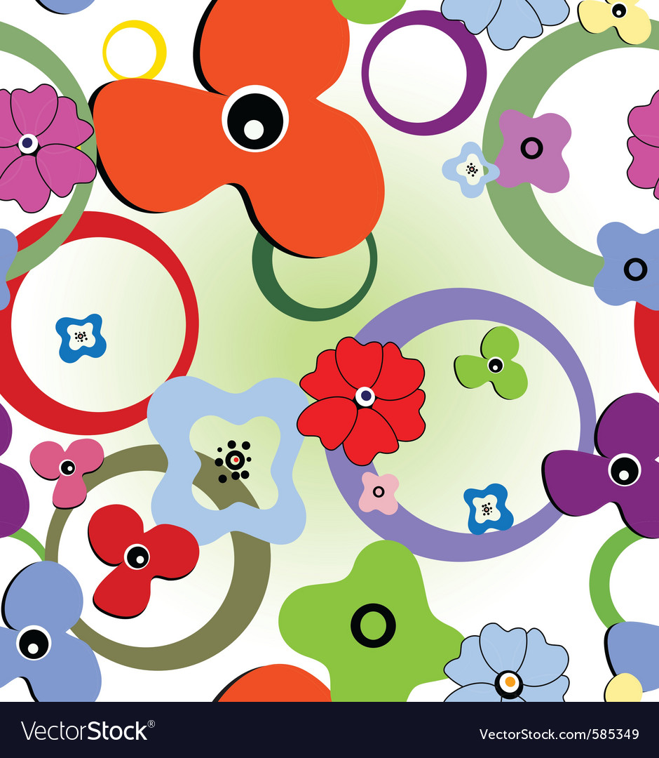 Seamless abstract flowers vector | Price: 1 Credit (USD $1)