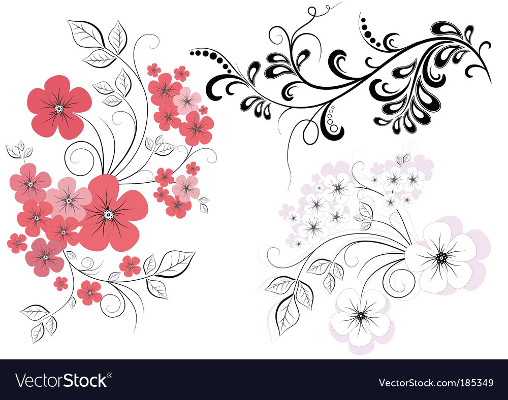 Set branches with flowers vector | Price: 1 Credit (USD $1)