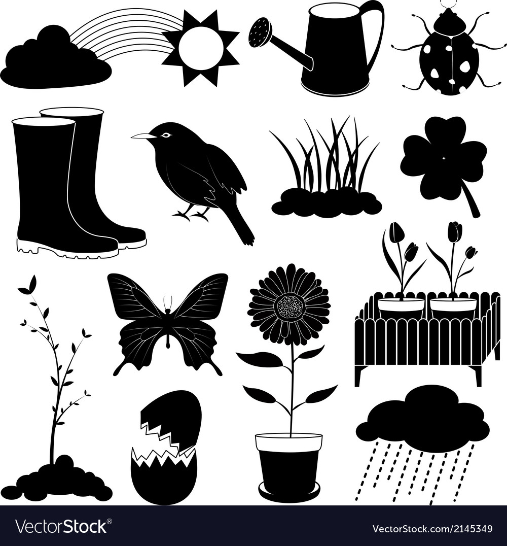Spring season icons collection vector | Price: 1 Credit (USD $1)