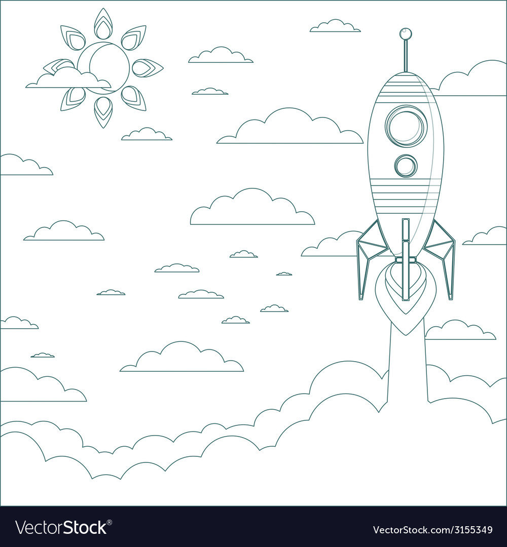 Stock of a cartoon flying rocket  contour vector | Price: 1 Credit (USD $1)