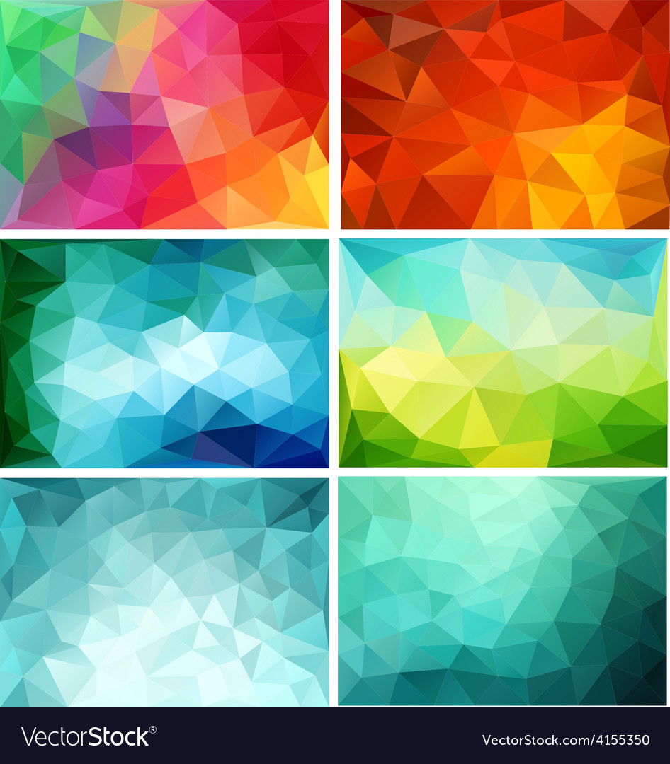Abstract low poly backgrounds set vector | Price: 1 Credit (USD $1)