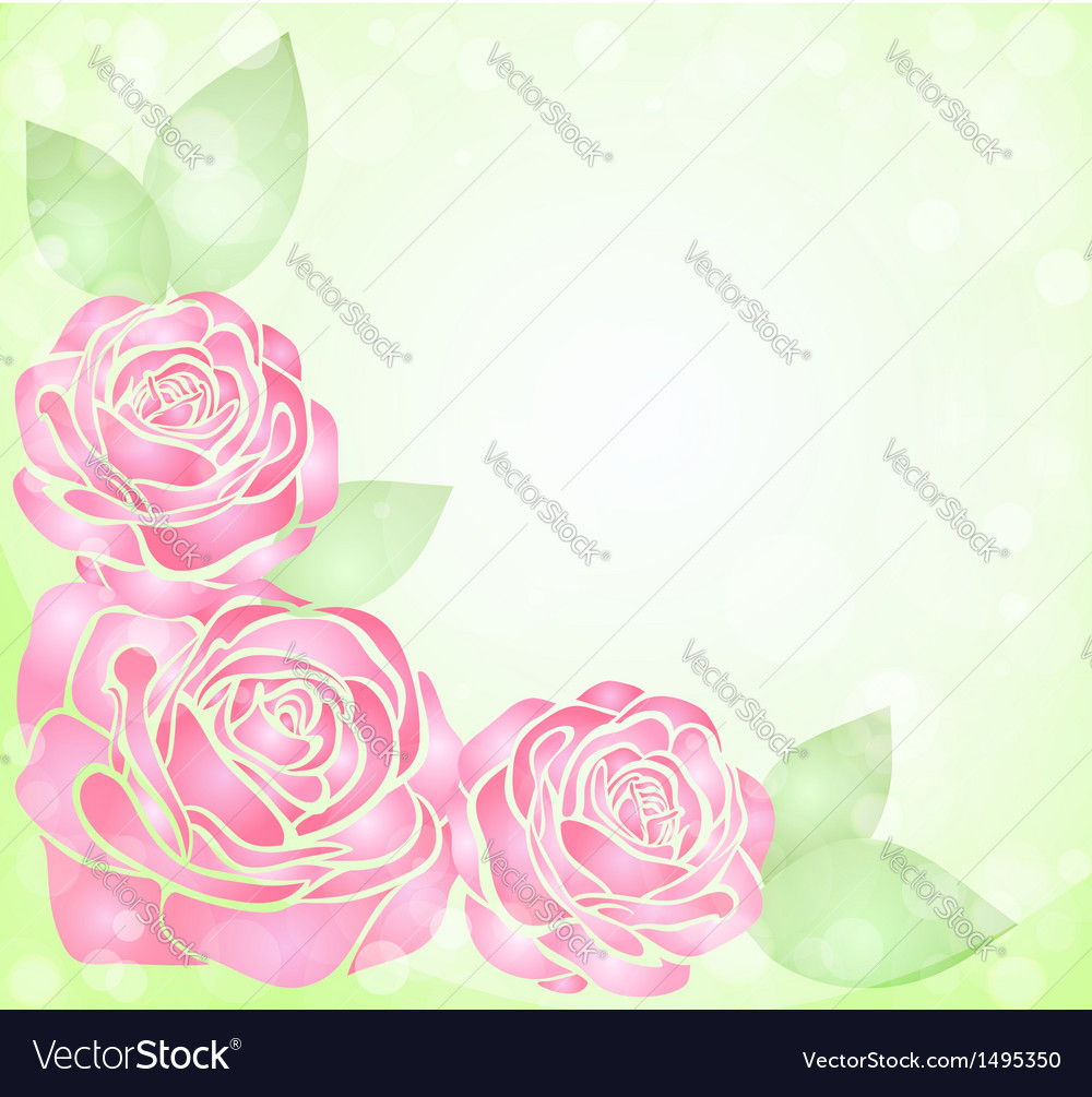 Background with glitter and pink roses in corner vector | Price: 1 Credit (USD $1)