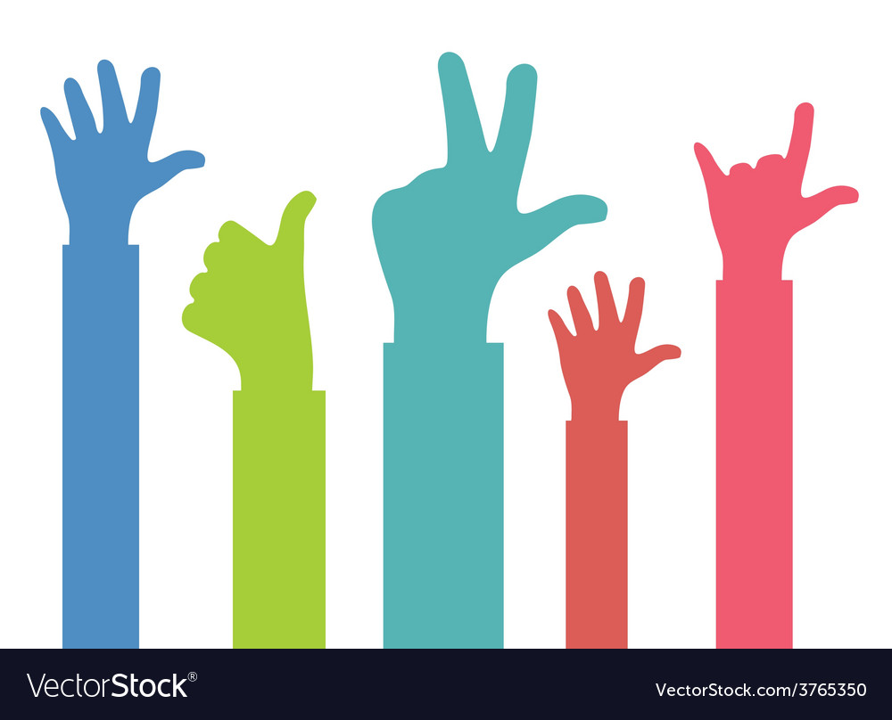 Colors hands up vector | Price: 1 Credit (USD $1)