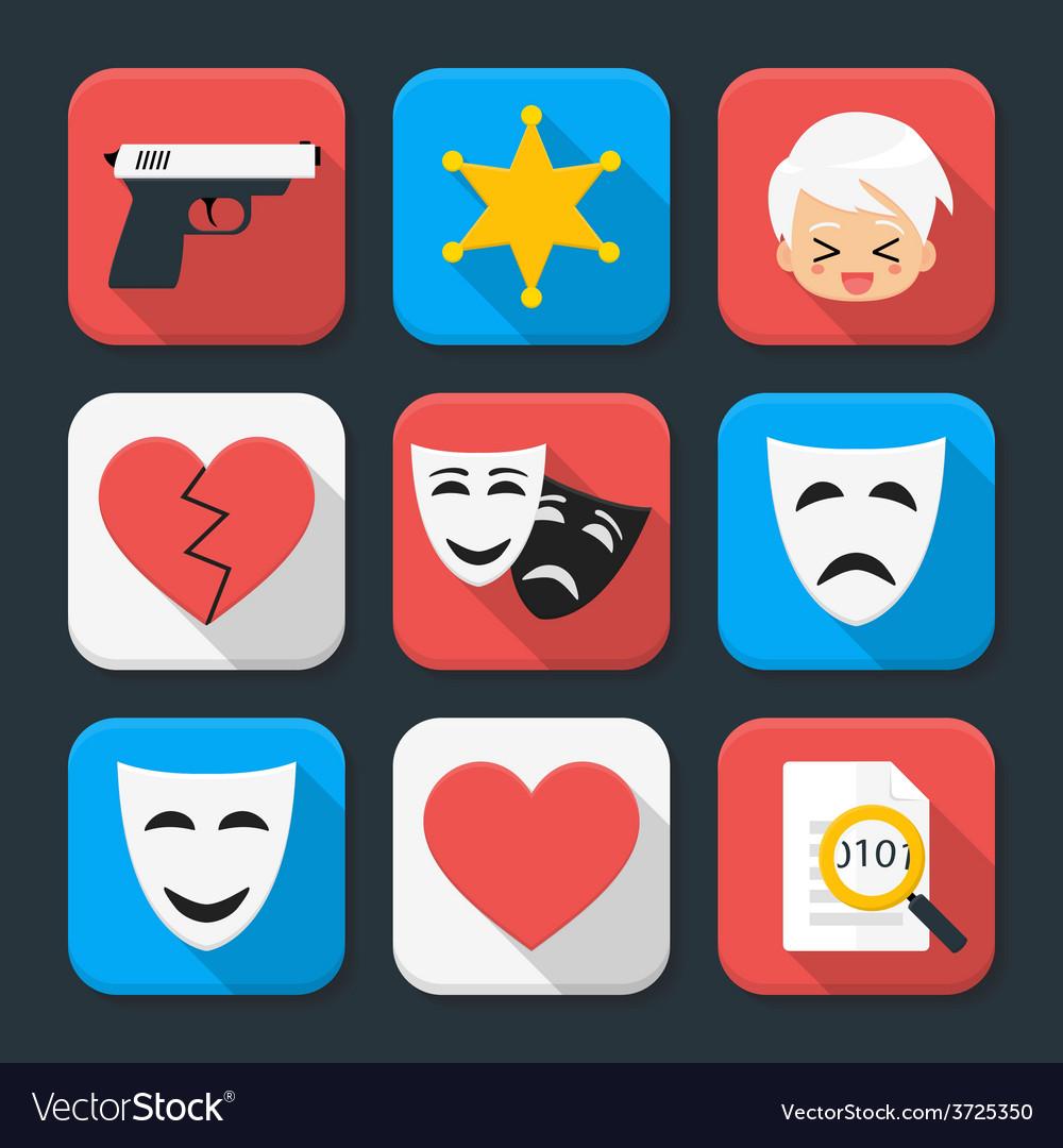 Film genre squared app icon set vector | Price: 1 Credit (USD $1)