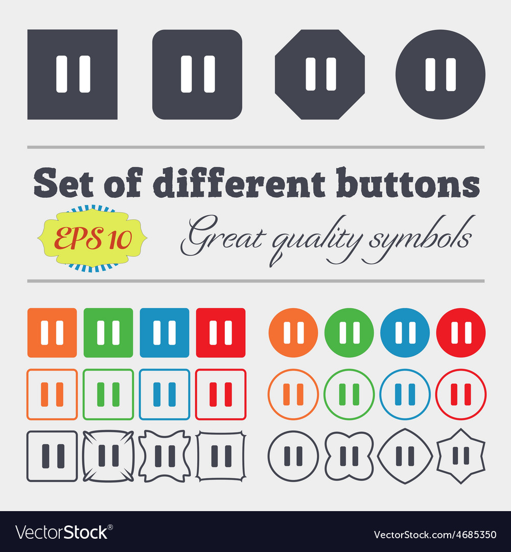 Pause icon sign big set of colorful diverse vector | Price: 1 Credit (USD $1)