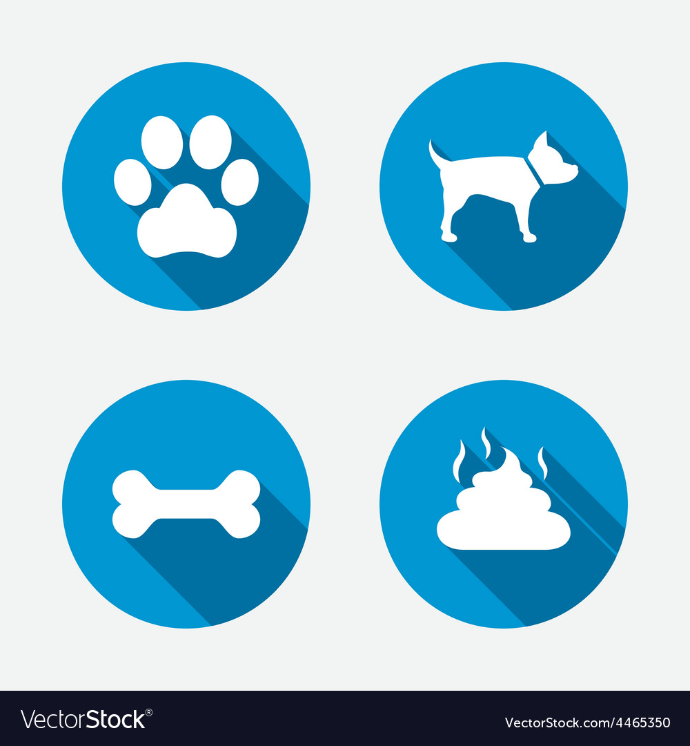 Pets icons dog paw and feces signs vector | Price: 1 Credit (USD $1)