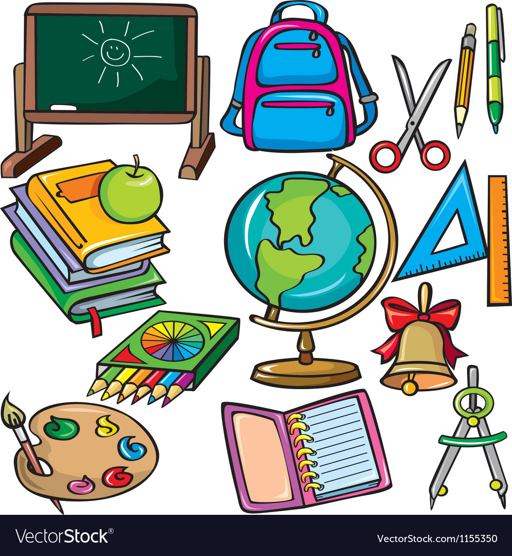 School accessories icons set vector | Price: 1 Credit (USD $1)