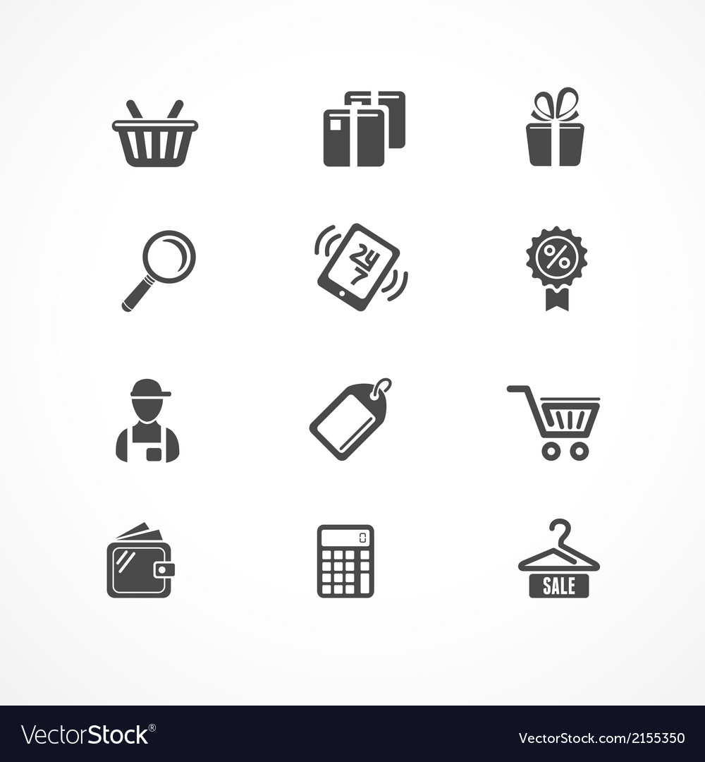 Shopping icons black vector | Price: 1 Credit (USD $1)