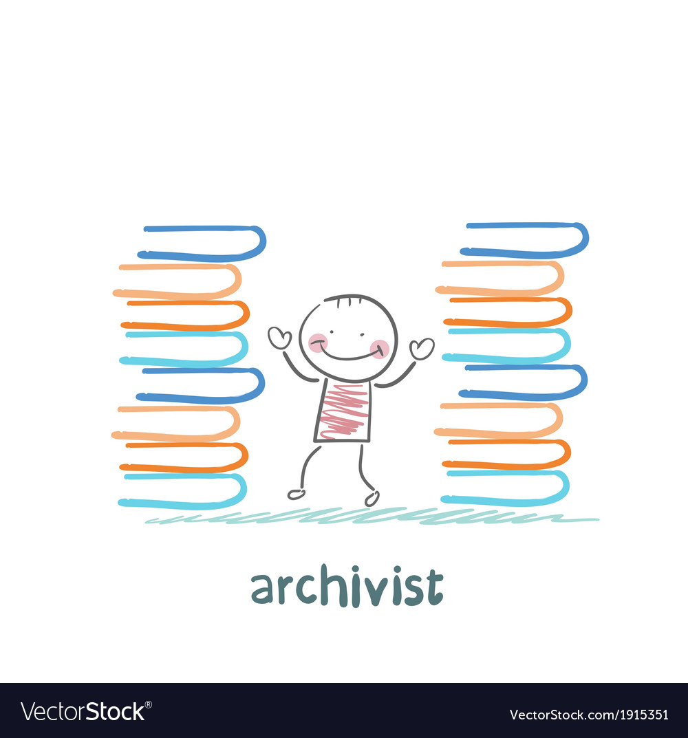 Archivist standing near piles of books vector | Price: 1 Credit (USD $1)
