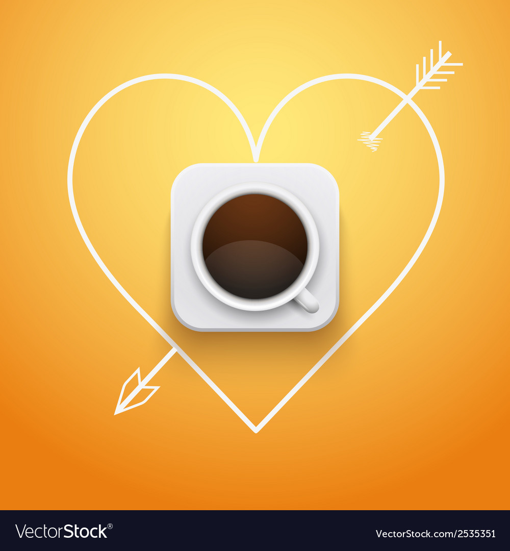 Background cup of coffee and heart with arrow vector | Price: 1 Credit (USD $1)