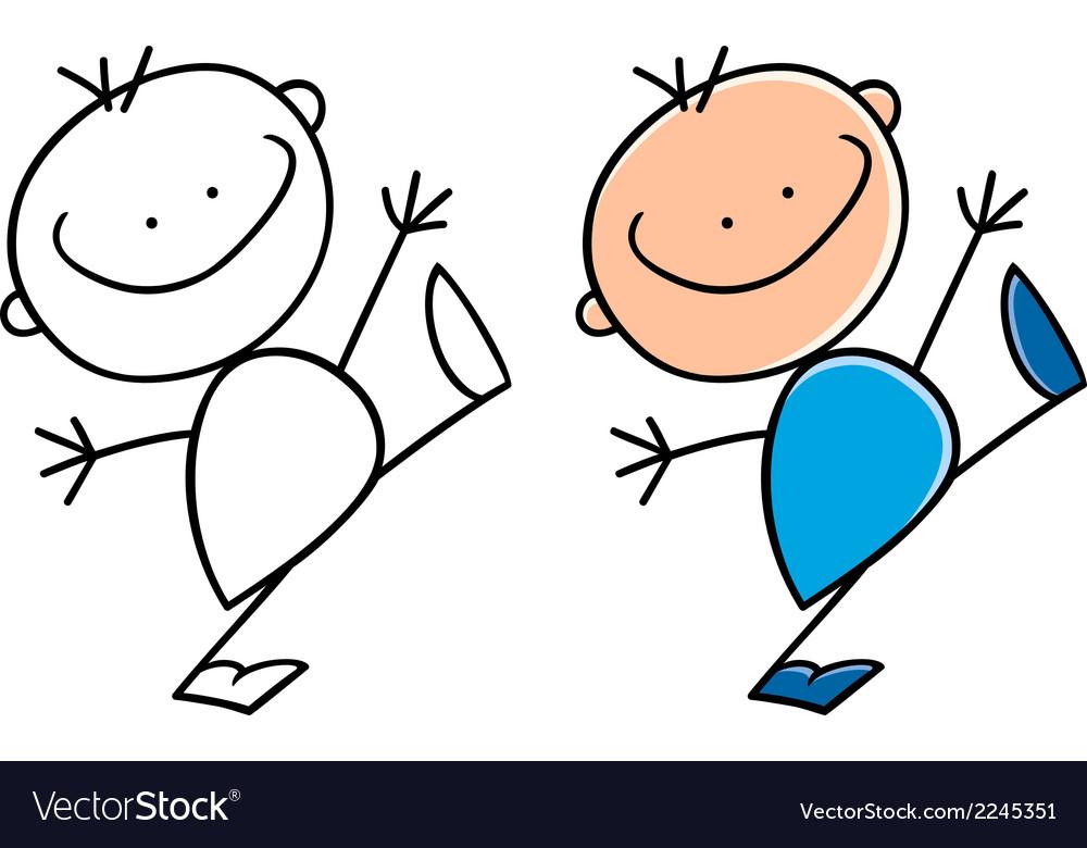 Cartoon cute happy little boy vector | Price: 1 Credit (USD $1)