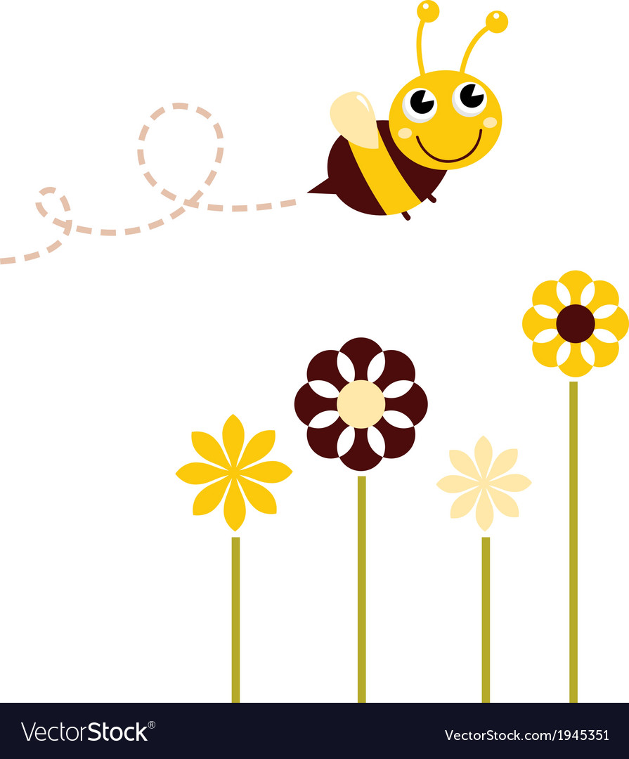 Cute flying bee with flowers isolated on white vector | Price: 1 Credit (USD $1)