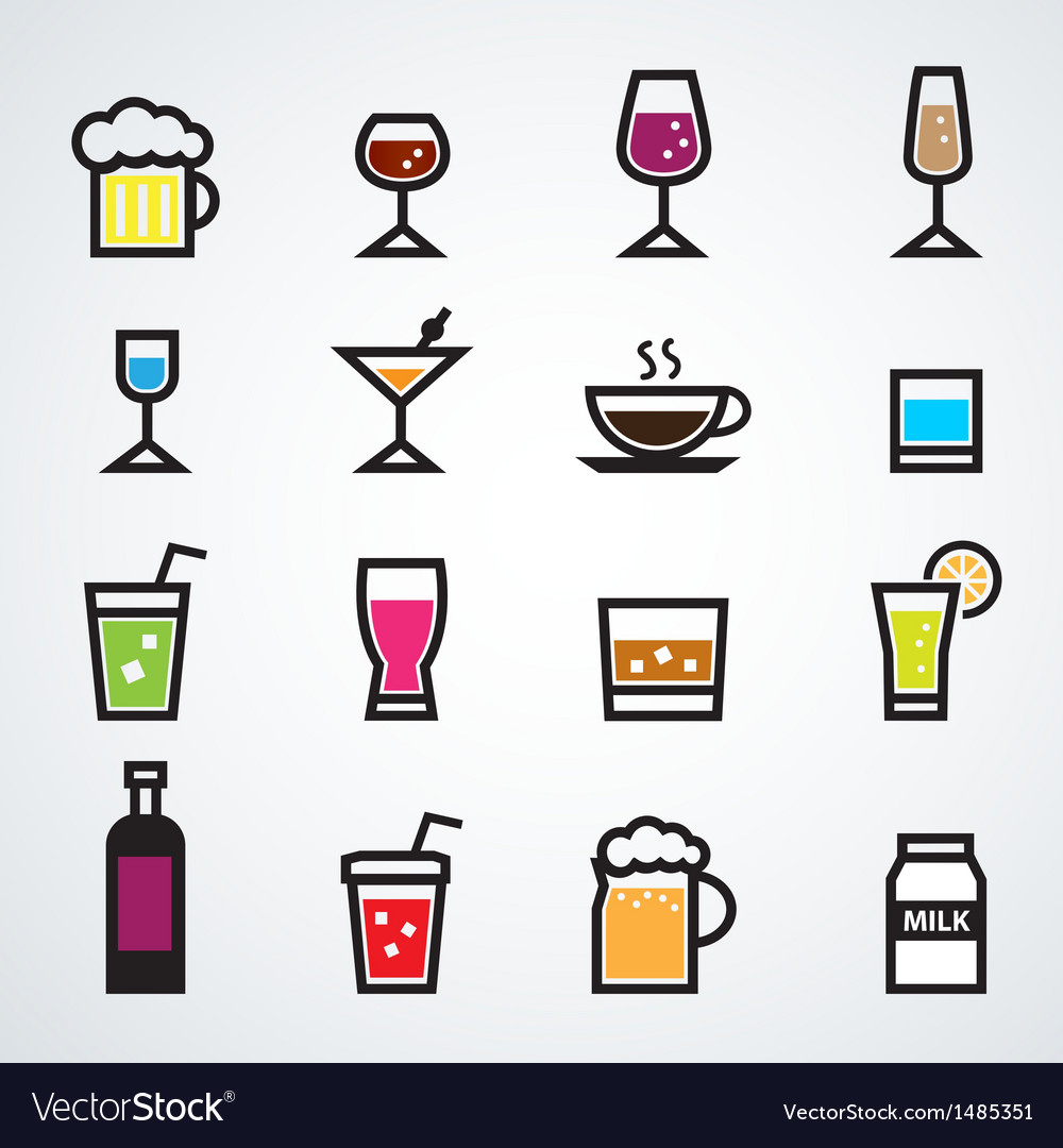 Drink icons set color vector | Price: 1 Credit (USD $1)