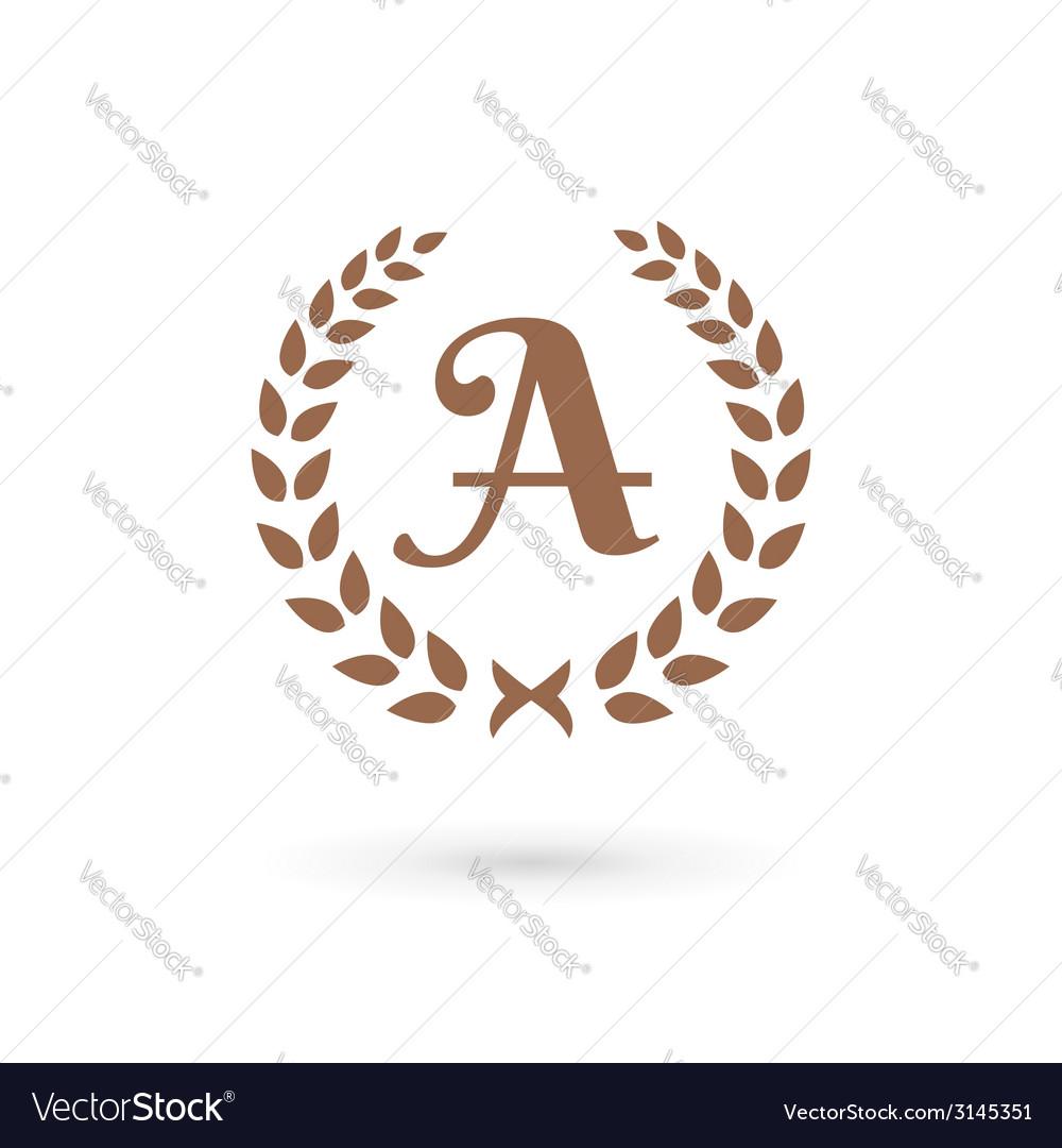 Letter a laurel wreath logo icon design template vector | Price: 1 Credit (USD $1)