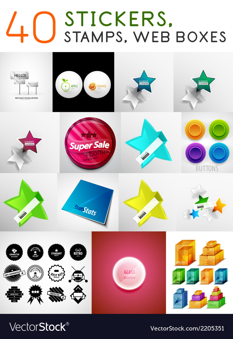Mega set of stickers stamps and web boxes vector | Price: 1 Credit (USD $1)