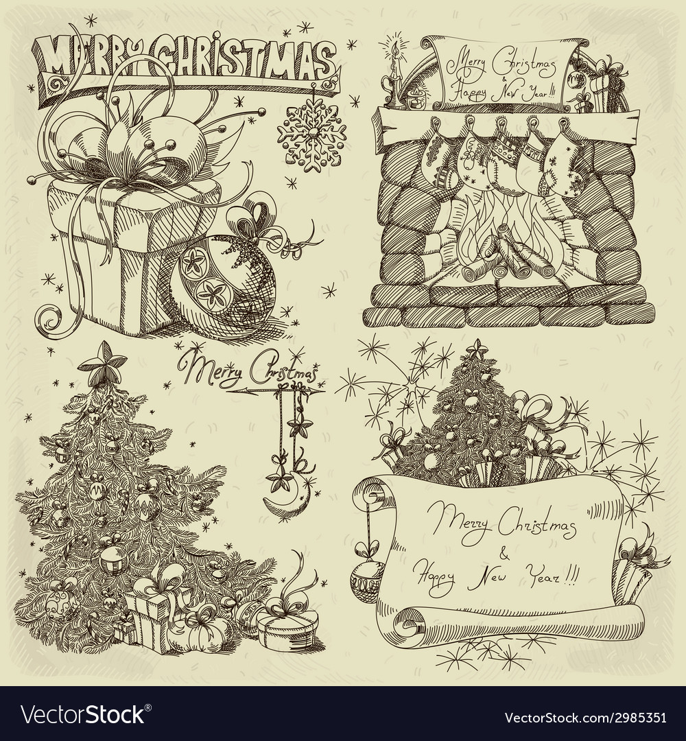 Merry christmas design elements vector | Price: 1 Credit (USD $1)