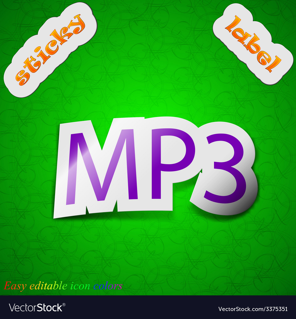 Mp3 music format icon sign symbol chic colored vector   Price: 1 Credit (USD $1)