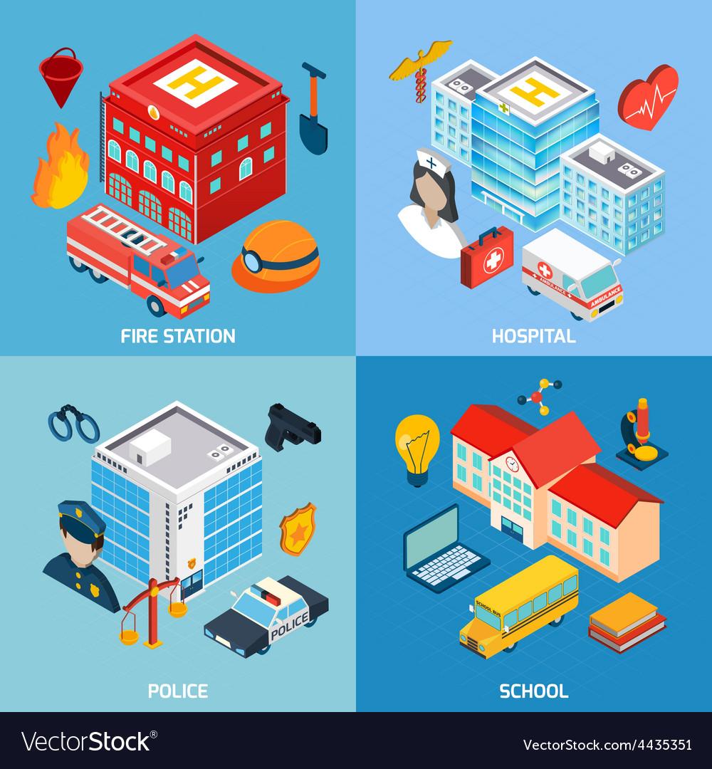 Municipal buildings set vector | Price: 1 Credit (USD $1)