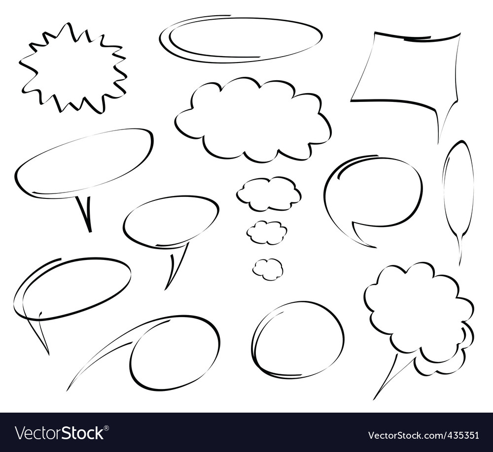Rawn dialog bubbles vector vector | Price: 1 Credit (USD $1)