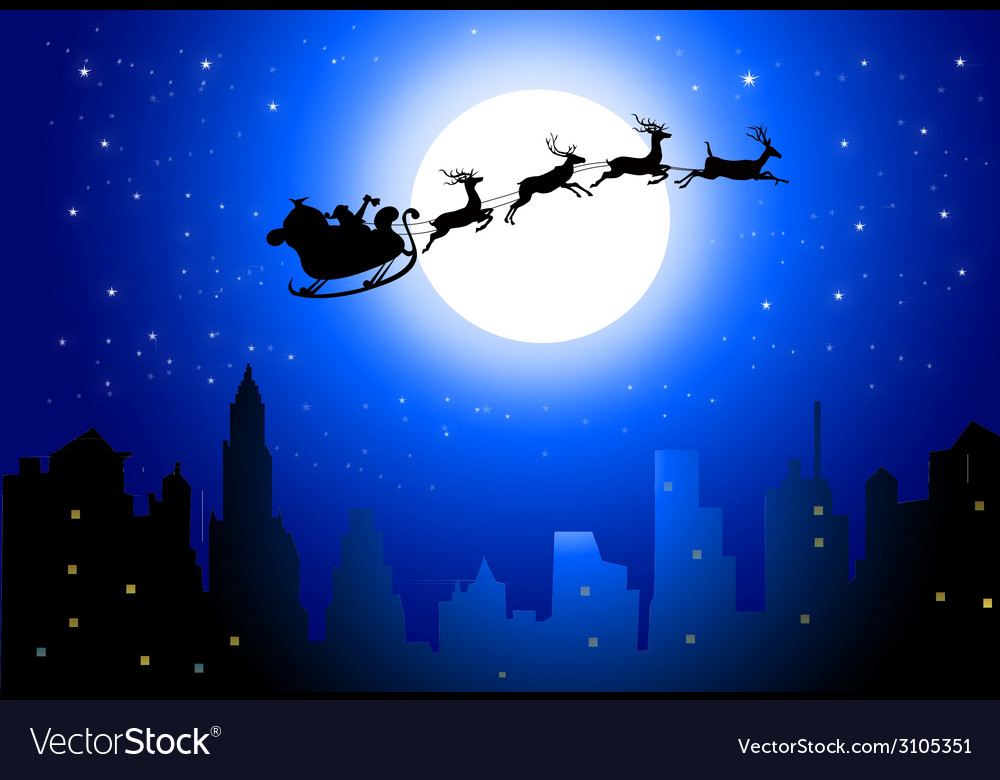 Santa sleigh on city in christmas night- vector | Price: 1 Credit (USD $1)