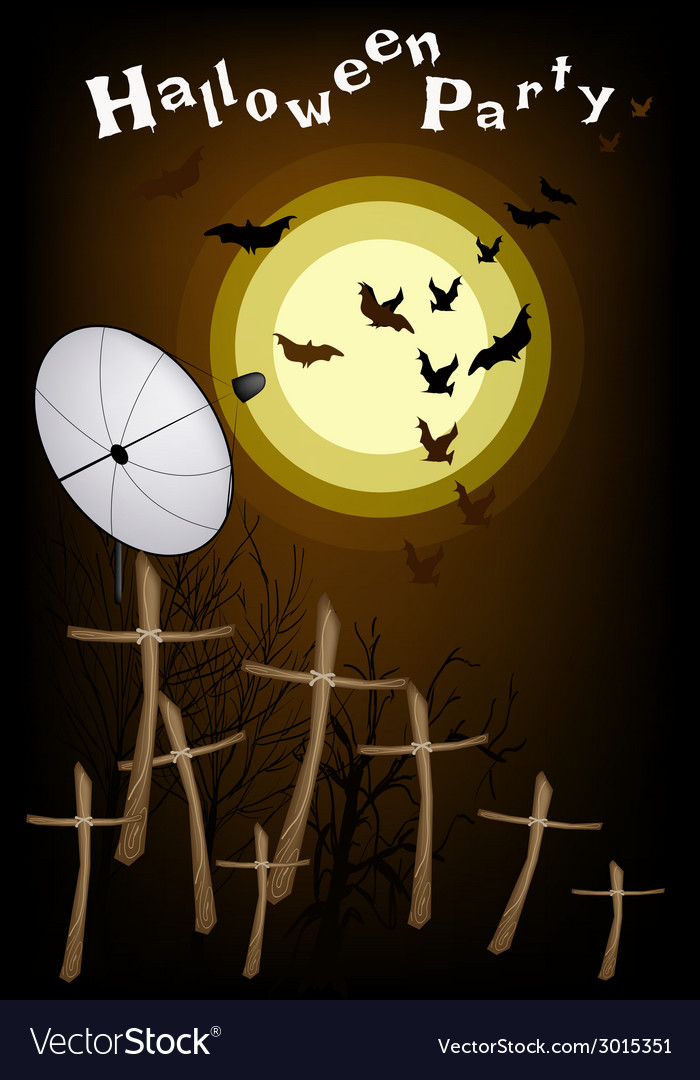 Satellite dish sending evil bats flying on night vector | Price: 1 Credit (USD $1)