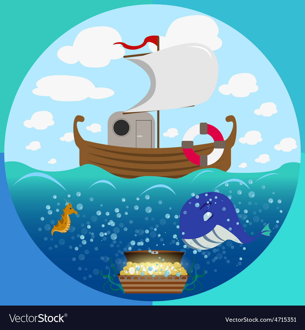 Sea theme circle set vector | Price: 3 Credit (USD $3)