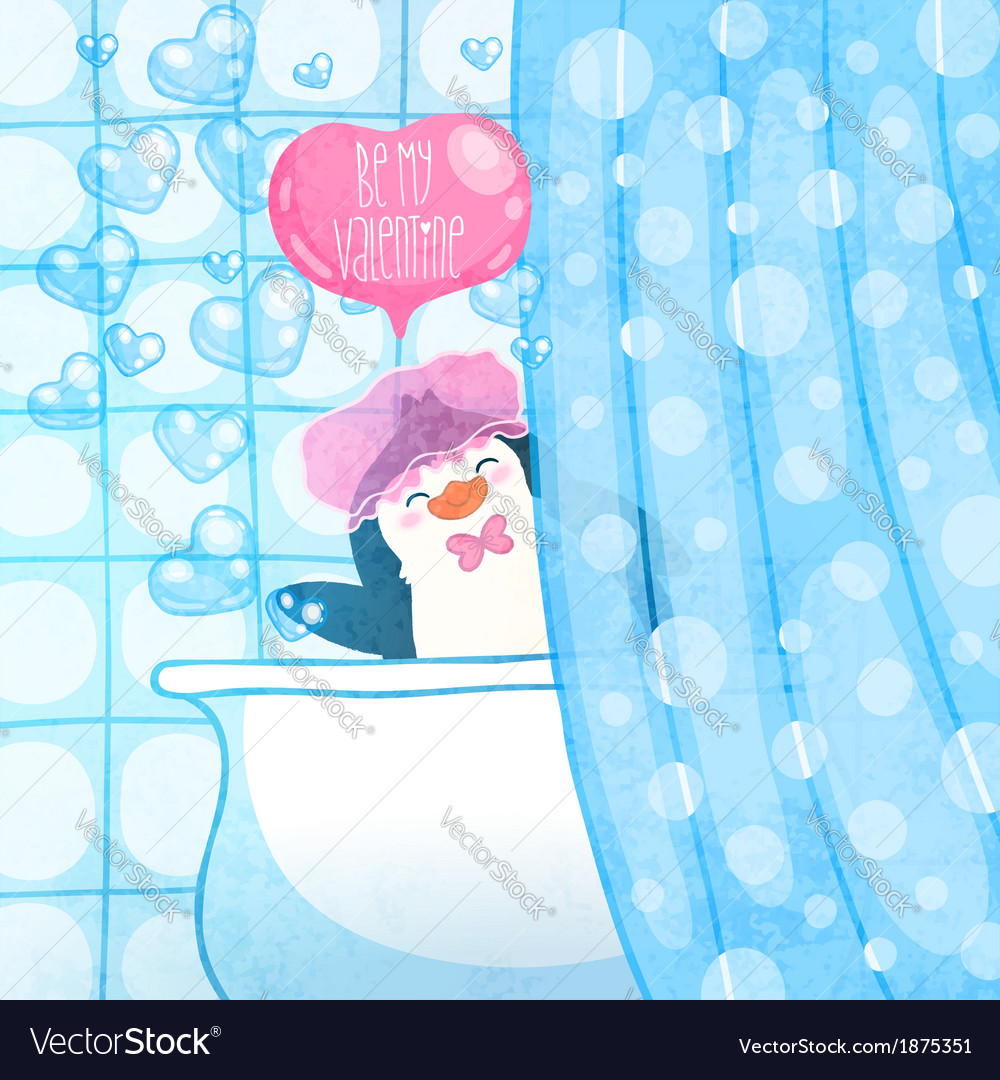 Valentines card with cute cartoon penguine vector   Price: 1 Credit (USD $1)