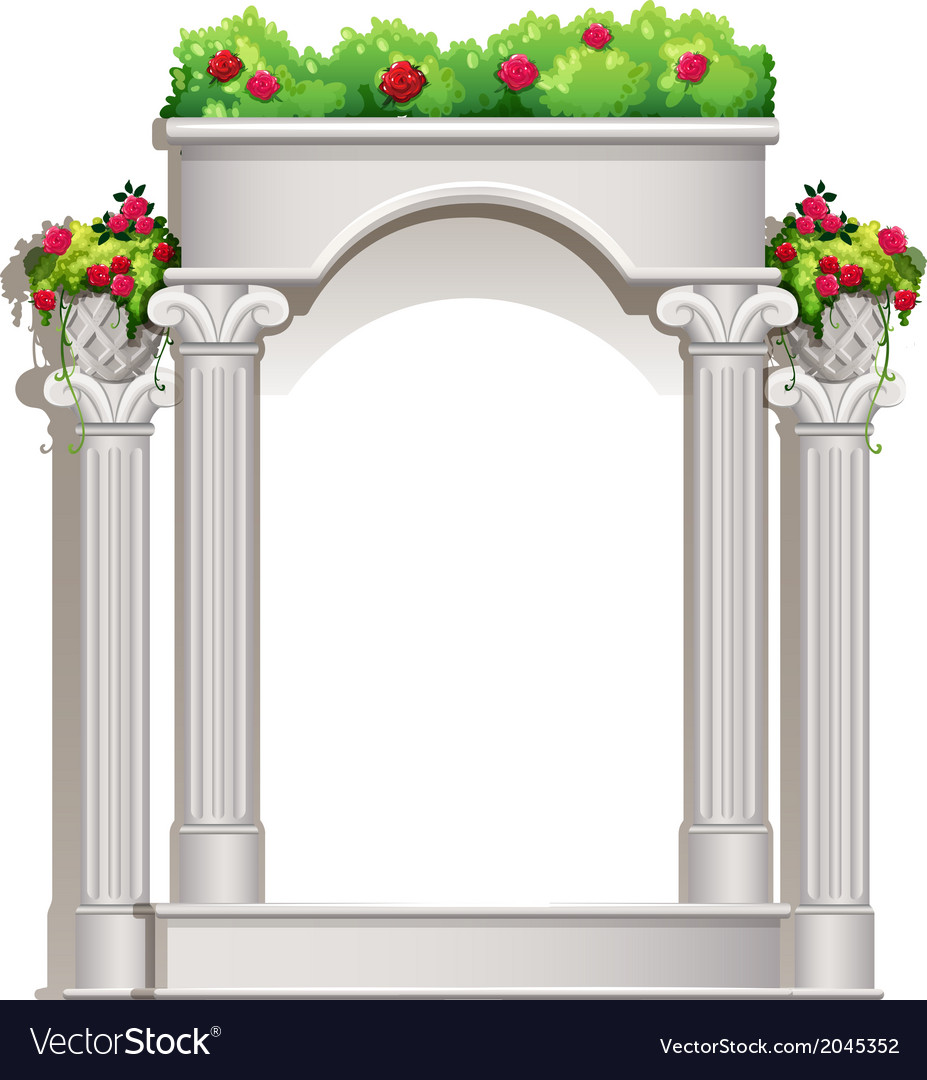 A porch with flowering plants vector | Price: 1 Credit (USD $1)