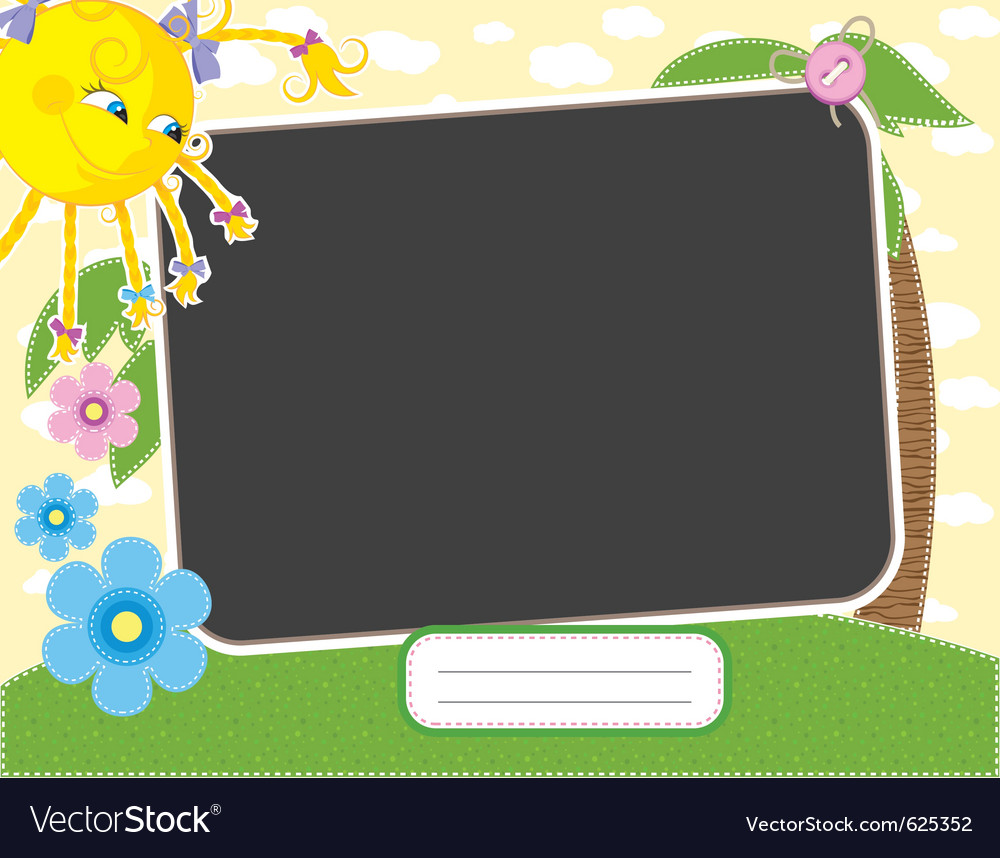 Baby summer frame with fun sun contains clipping m vector | Price: 1 Credit (USD $1)