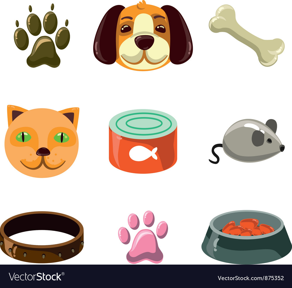 Cat and dog with toys vector | Price: 1 Credit (USD $1)