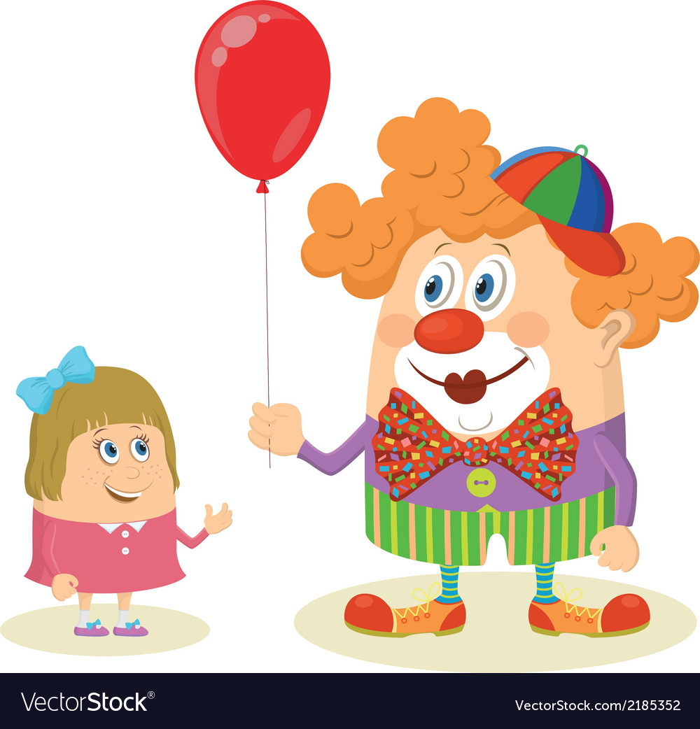 Circus clown with balloon and girl vector | Price: 1 Credit (USD $1)