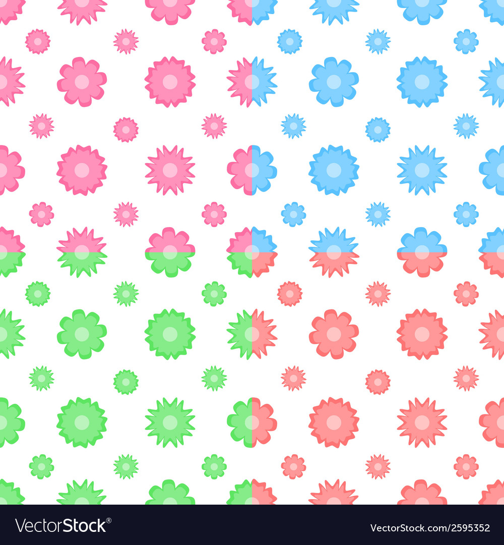 Colorful seamless pattern with flowers tiling vector | Price: 1 Credit (USD $1)