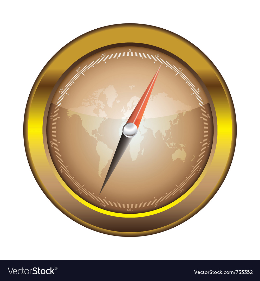 Gold retro compass vector | Price: 1 Credit (USD $1)