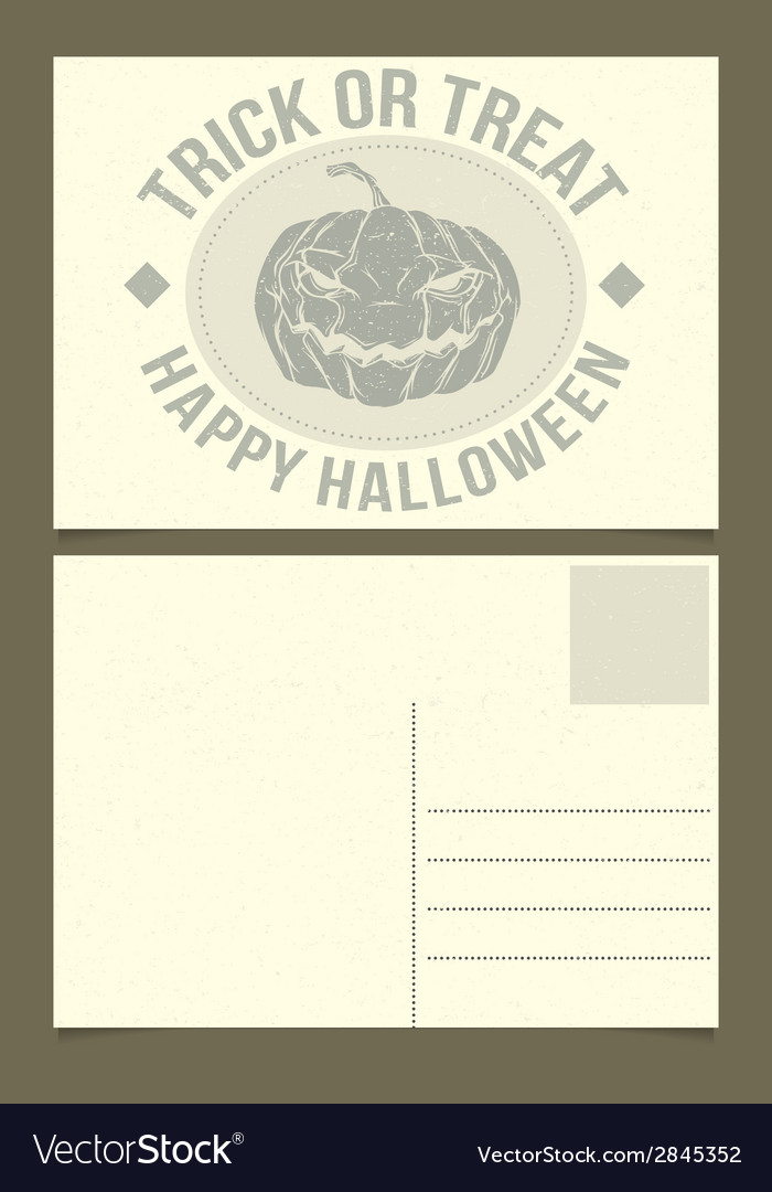 Halloween postcard template vector | Price: 1 Credit (USD $1)
