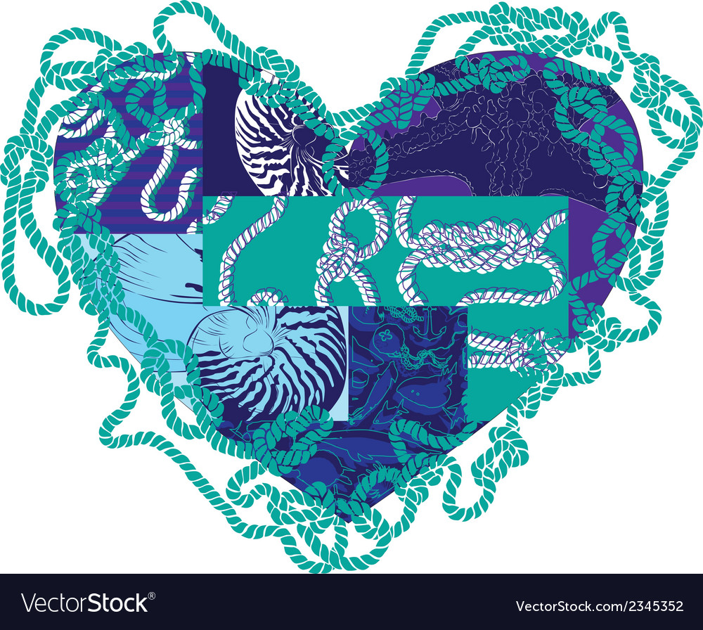 Heart with elements of marine life vector | Price: 1 Credit (USD $1)
