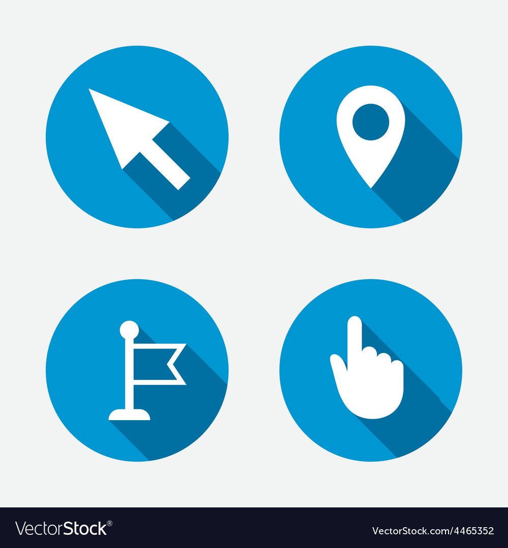 Mouse cursor icon hand or flag pointer symbols vector | Price: 1 Credit (USD $1)