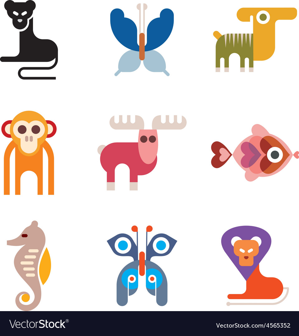 Set of animal icons vector | Price: 1 Credit (USD $1)