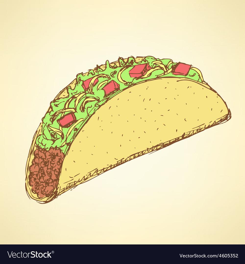 Sketch mexican taco in vintage style vector   Price: 1 Credit (USD $1)